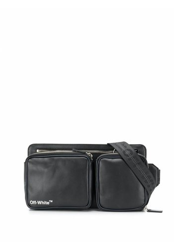 OFF-WHITE leather hip belt black white
