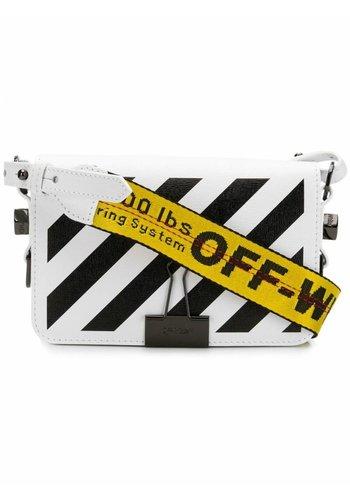 OFF-WHITE diag mini flap bag white black
