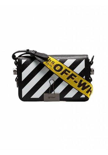 OFF-WHITE diag mini flap bag black white