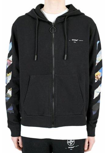 OFF-WHITE diag colored arrow zip hoodie black multicolor
