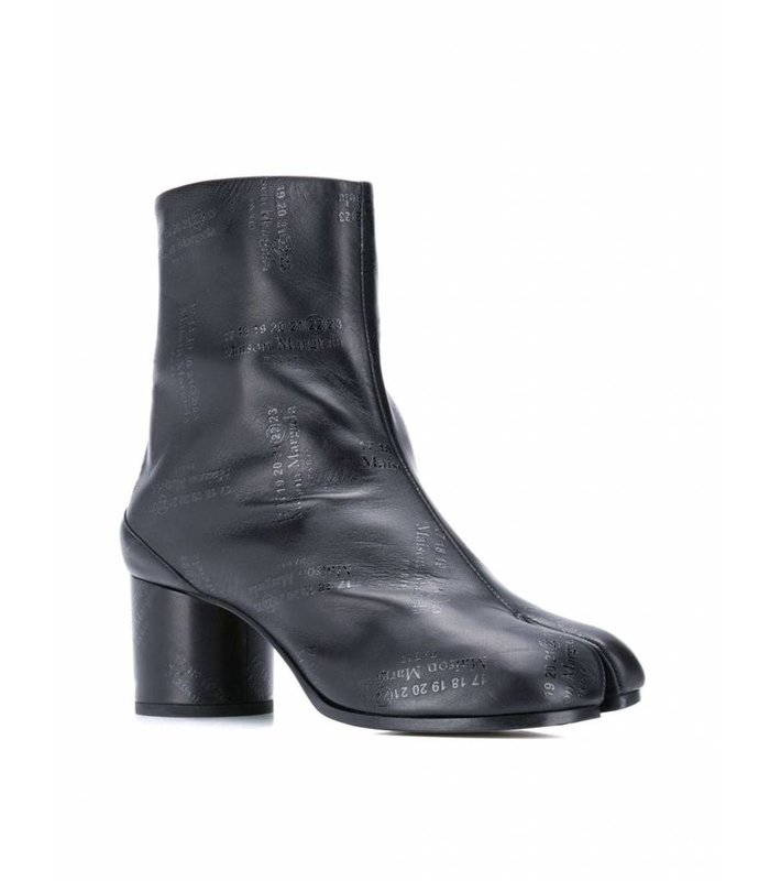 TABI BOOTS BLACK LEATHER LOGO ALL OVER