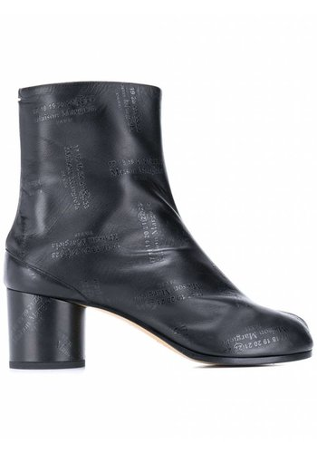 MAISON MARGIELA tabi boots black leather logo all over