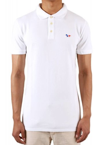 MAISON KITSUNE polo tricolor fox patch white