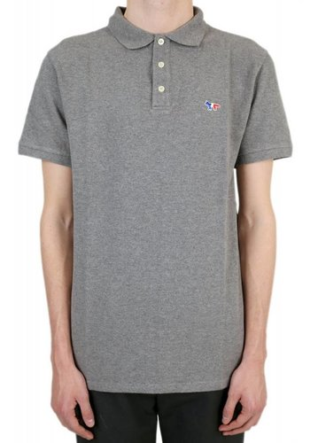 MAISON KITSUNE polo tricolor fox patch grey melange
