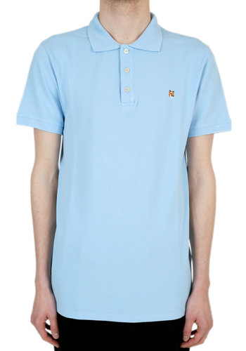 MAISON KITSUNE polo fox head embroidery light blue