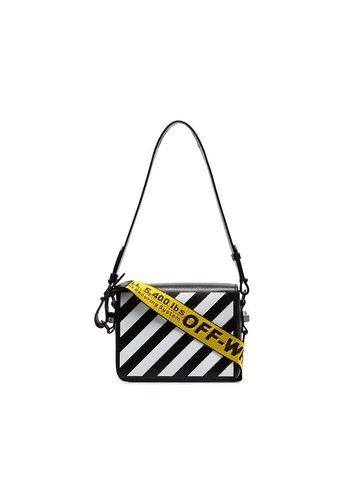 OFF-WHITE diag flap bag black white