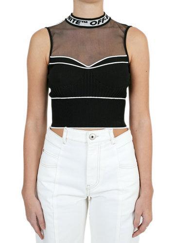 OFF-WHITE knit crop top black no color