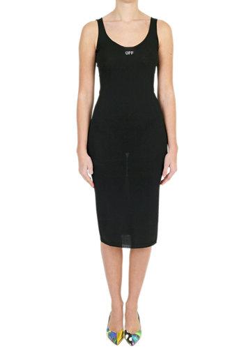 OFF-WHITE basic knit long dress black white
