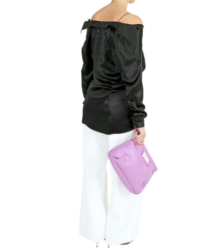 LACE-TRIMMED SILK-SATIN BLOUSE