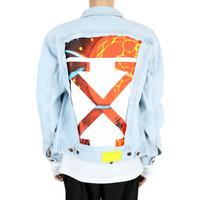 SLIM DENIM JACKET W FLEECE BLEACH