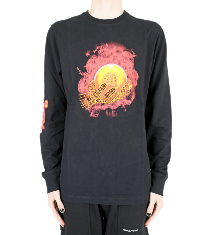 HAND AND PLANET L/S TEE BLACK