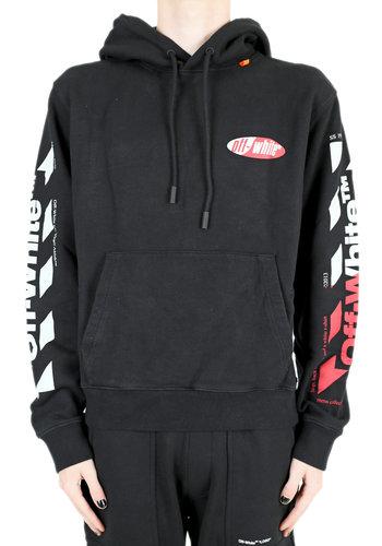 OFF-WHITE split hoodie black red