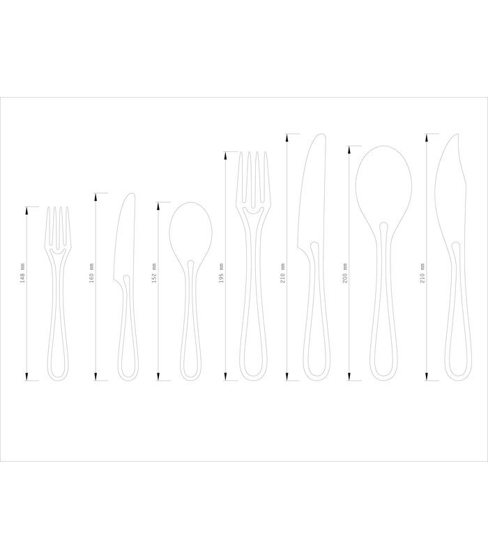 OUTLINE CUTLERY GLOSSY BLACK 24PCS DINING  SET