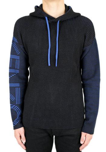 KENZO logo knitted hoodie black blue
