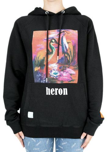 HERON PRESTON prntd aironi raglan hoodie black multicolor