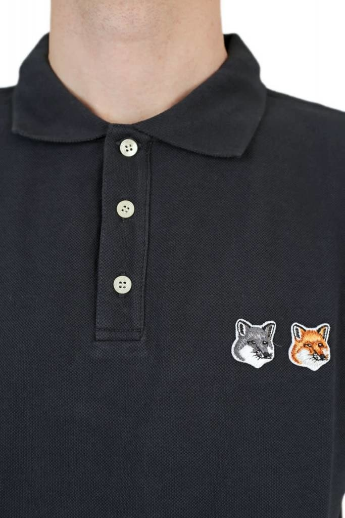 15c6abc32 MAISON KITSUNE POLO DOUBLE FOX HEAD PATCH ANTHRACITE - Megusta