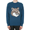 MAISON KITSUNE FOX HEAD PULLOVER PETROL