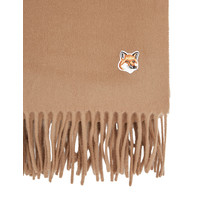 SMALL FOX HEAD WOOL SCARF BEIGE