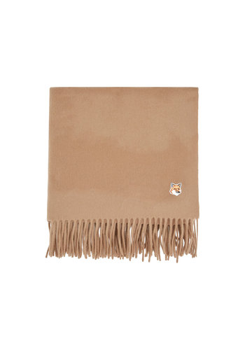 MAISON KITSUNE small fox head wool scarf beige