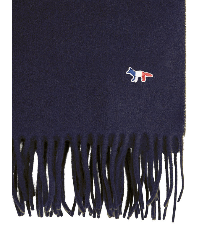 TRICOLOR FOX WOOL SCARF NAVY