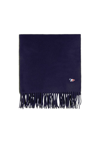 MAISON KITSUNE small fox head wool scarf navy
