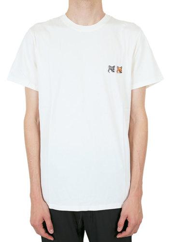 MAISON KITSUNE t-shirt double fox head patch latte