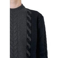 CASHMERE PULLOVER CABLE-KNIT GREY NAVY