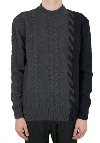 MAISON KITSUNE cashmere pullover cable-knit grey navy