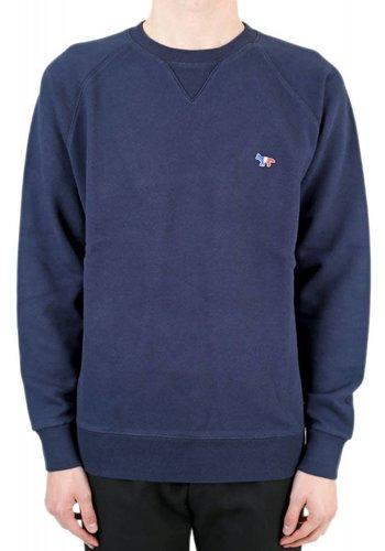 MAISON KITSUNE sweatshirt tricolor fox patch navy