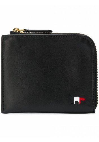 MAISON KITSUNE tricolor coin purse leather black