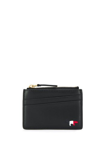 MAISON KITSUNE tricolor zipped card holder leather black