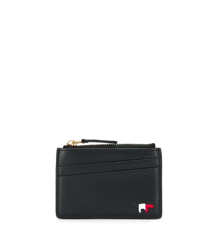 TRICOLOR ZIPPED CARD HOLDER LEATHER BLACK