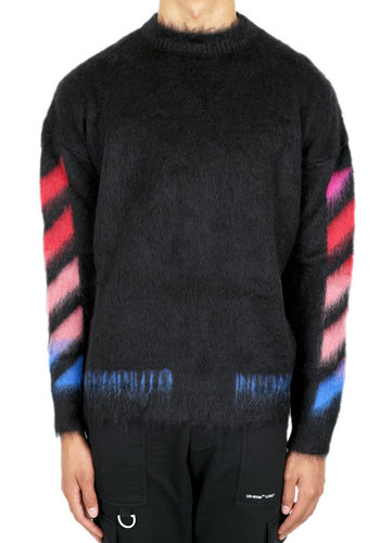 OFF-WHITE diagonal brushed mohair crewneck black multi