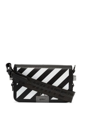 OFF-WHITE diag mini flap bag black white