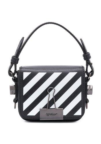 OFF-WHITE diag baby flap bag black white