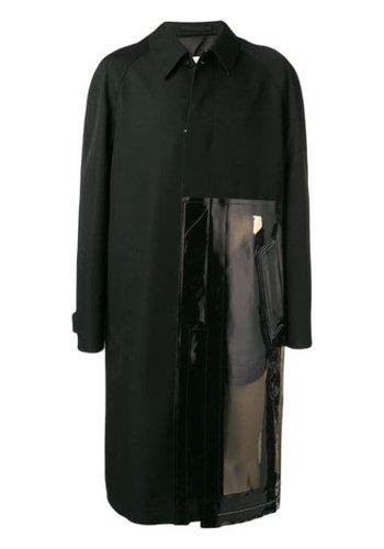 MAISON MARGIELA vinyl panel coat black
