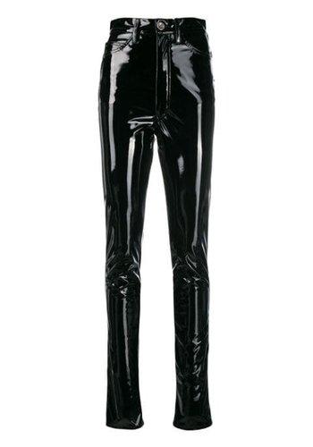 MAISON MARGIELA high waist vinyl stretch pants black
