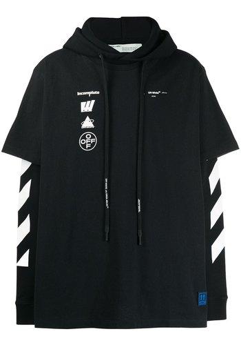 OFF-WHITE diagonal mariana double tee hood black multi