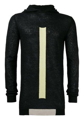 RICK OWENS hooded knitwear black pearl lime