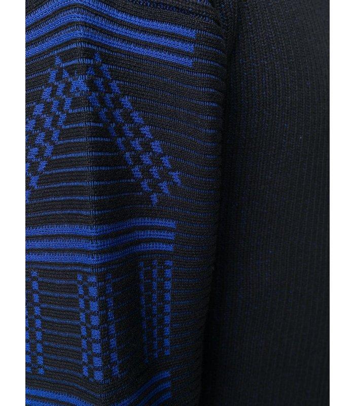 LOGO KNITTED HOODIE BLACK BLUE