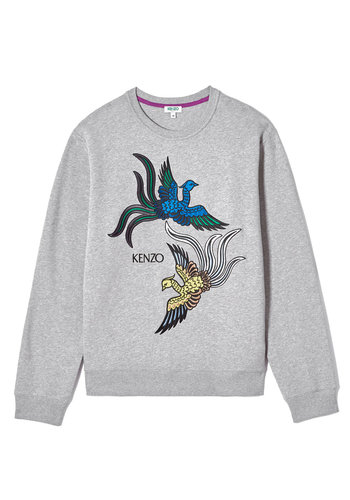 KENZO flying phoenix classic fit sweater grey
