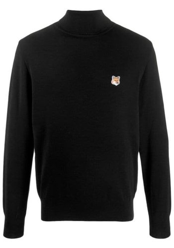 MAISON KITSUNE turtleneck fox head patch black