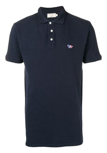 MAISON KITSUNE polo tricolor fox patch navy