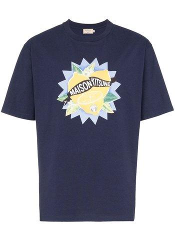 MAISON KITSUNE limone t-shirt navy