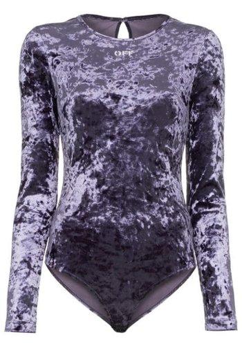 OFF-WHITE velvet stretch bodysuit dark blue white