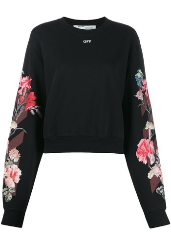 OFF-WHITE flowers carryover crop crewneck black