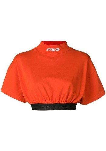 HERON PRESTON crop turtleneck tshirt s/s red black