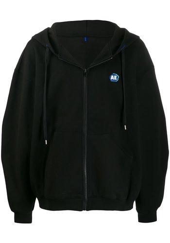 ADER ERROR stone logo zip up hoodie black