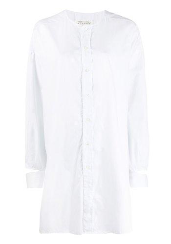 MAISON MARGIELA white/blue striped cotton blouse