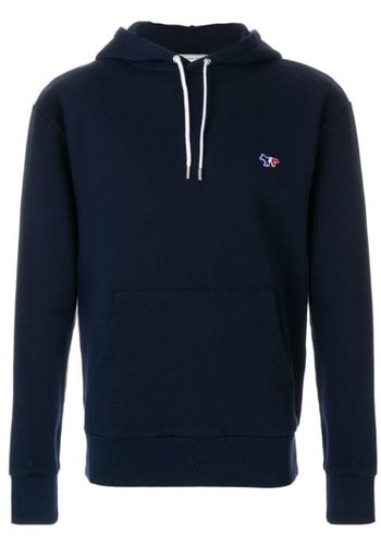 MAISON KITSUNE hoodie tricolor fox patch navy
